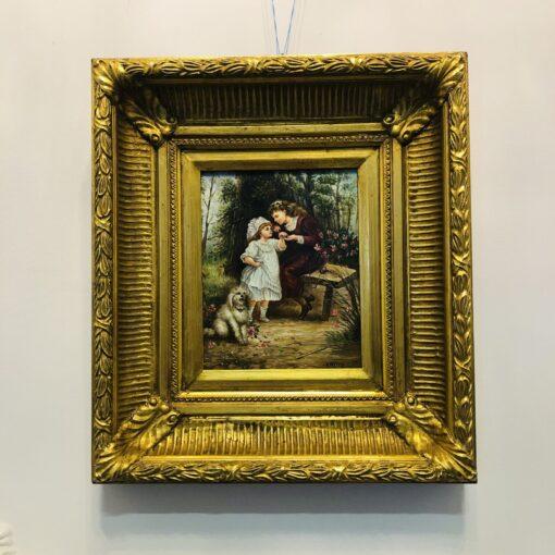 """Картина """"Девочки с собачками"""" второй половины XX века Бельгия."""