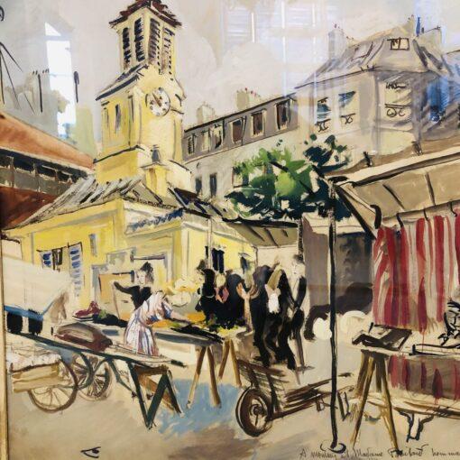 """Акварель """"Рыночная площадь"""" 1945 г."""