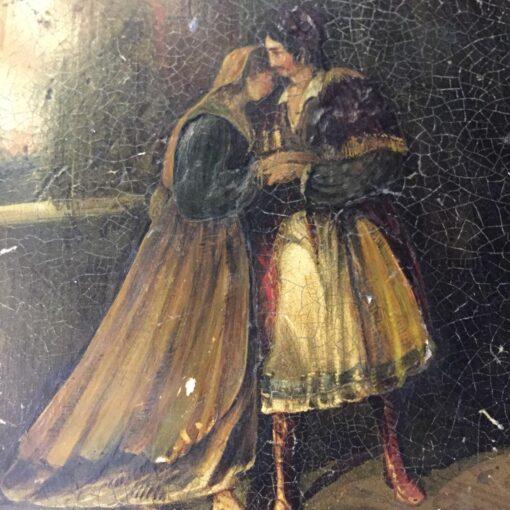 Большая шкатулка из дерева, роспись, инкрустация перламутром, начало XIX в., Франция.