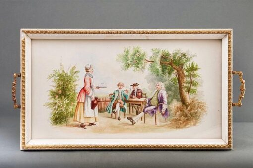 """Поднос """"Чаепитие"""", XIX-XX вв., Франция."""