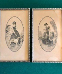 Пара подписных литографий, начало XX века, Франция.