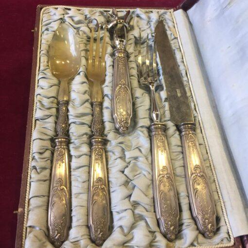 Набор столовых приборов, XX в., Франция, глубокое серебрение