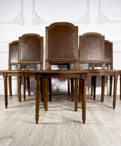 Гарнитур антикварный стульев 6 шт. XIX-XX в Франция. Выполнены из ореха, тисненая кожа.