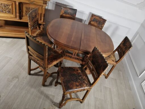 Столовый гарнитур из ореха, начало XX века, Франция