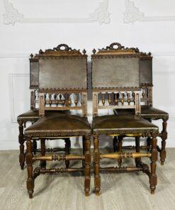 Четыре кожаных антикварных стула из гарнитура конца XIX века, Франция