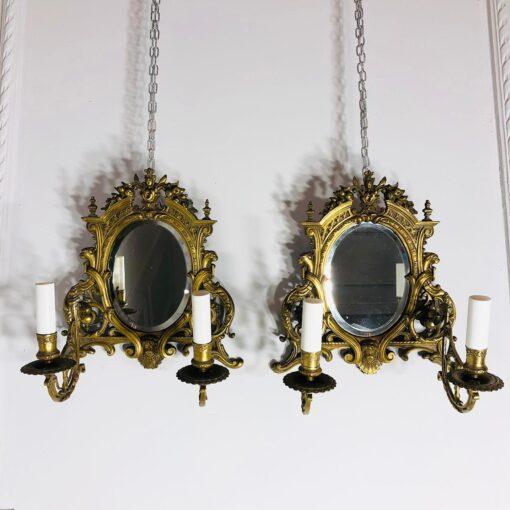 Парные бра с зеркалом антикварные. XIX век, Франция