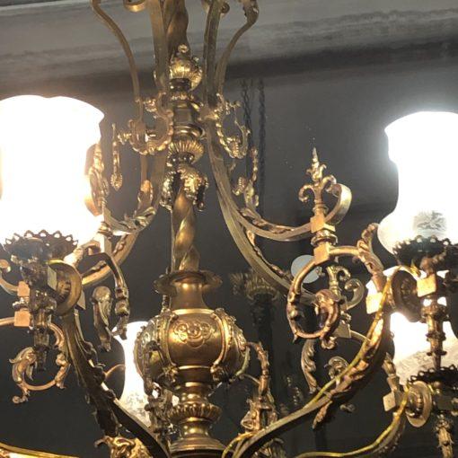 Большая бронзовая люстра начала XX века
