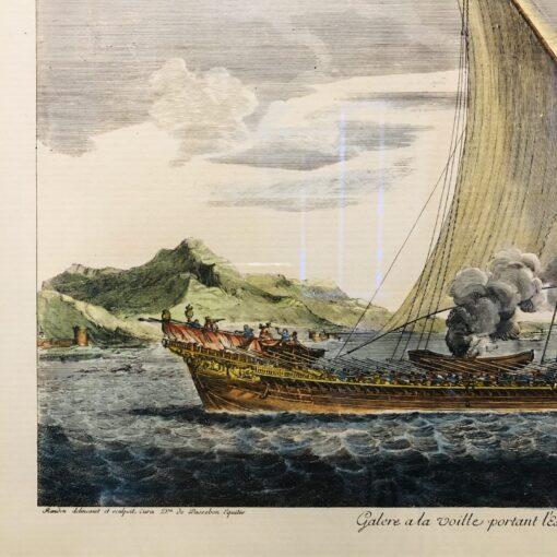 "Пара гравюр ""Корабли"" Франция."