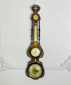 Винтажные настенные часы с барометром, компасом и градусником второй половины XX века, Европа.