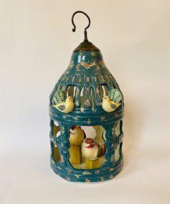 Большая декоративная керамическая клетка для птиц середины XX века, Франция.