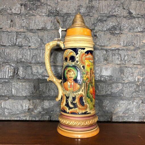 Большая пивная керамическая кружка середины XX века, Германия.