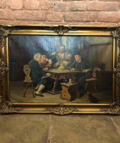 Большая интерьерная Картина «Картежники» первой половины XX века, Бельгия.