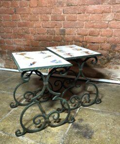 Пара металлических столиков середины XX века, Франция.
