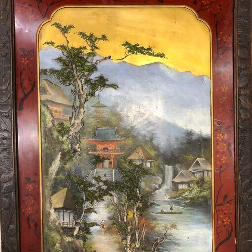 Огромная двухстворчатая Ширма в стиле шинуазри на колесиках XIX-XX века.