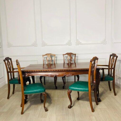Обеденный гарнитур (два кресла и 4 стула) в стиле Chippendale начала XX века, Англия.