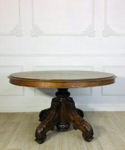 Раскладной обеденный стол на одной резной ноге, начала XX века, Франция.