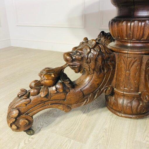 Большой раскладной обеденный стол со львами начала XX века, Франция.