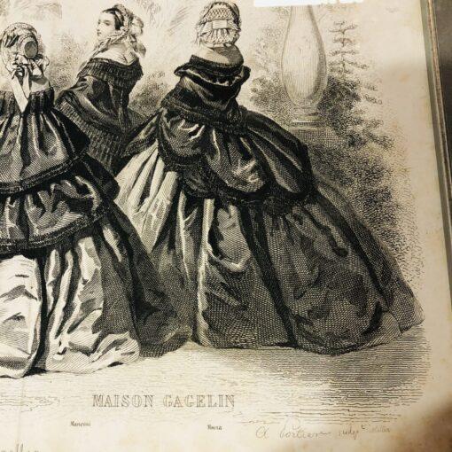 Три гравюры дамской моды из парижского журнала XIX века, Франция.