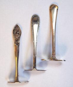 Детская ложечка для подвигания еды, серебро, ХХ век. Франция