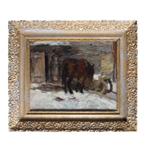 """Картина Бориса Угарова """"Лошадь у дома зимой"""""""