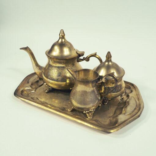 Антикварный набор для чая и кофе. Чайник, сахарница, молочник, конец XIX века, Франция.