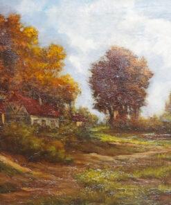"""Картина """"Осенний пейзаж"""" Жана Кенде. Конец XIX века."""