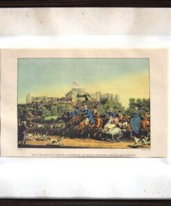 """Гравюра """"Его величество Георг III возвращается с охоты"""". Середина XIX века"""