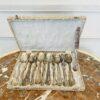 Набор старинных серебряных столовых приборов на 6 персон (столовые ложки и ножи) середины XX века, Италия.