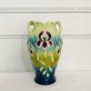 Большая антикварная ваза начала XX века Ар-Нуво, Sarreguemines, Франция. Фаянс, лепка, ручная роспись. Выполнена в технике барботин. Высота 35 см.