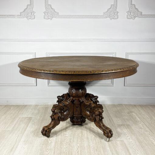 """Стол """"с лисами"""" обеденный антикварный конца XIX века, Франция."""