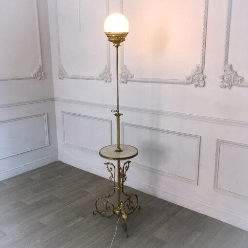 Лампа антикварная напольная с мраморным столиком столиком рубежа XIX-XX веков, Франция
