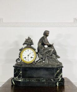 Часы антикварные из шпиатра и мрамора, XIX век, Франция.
