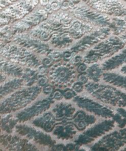Велюр винтажный светло-голубой для перетяжки мебели с классическим орнаментом.