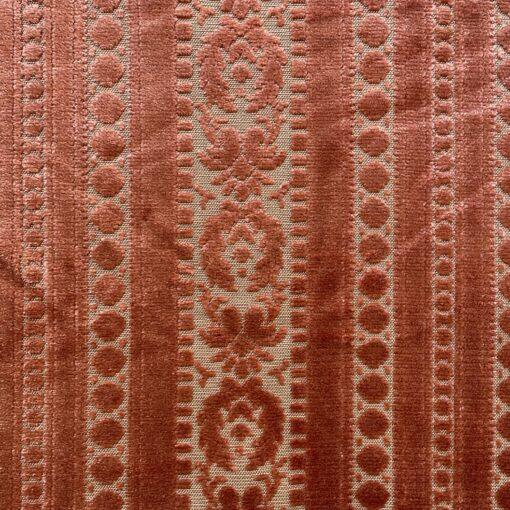 """Велюр винтажный коралловый для перетяжки мебели с орнаментом """"Классицизм""""."""