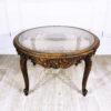 Кофейный столик из ореха с ротанговым плетением 1960-х годов.
