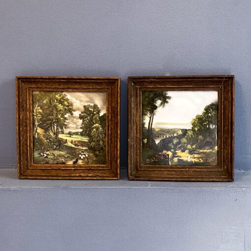 Парные картины на фарфоре середины XX века, Франция, Gien.