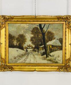 "Пейзаж антикварный ""Зимний день в деревне"", первая половина XX века, Европа."