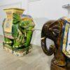 Пара винтажных керамических подставок в виде слонов, середина ХХ века, Китай.