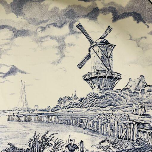 Блюдо антикварное Delft с пейзажем, Boch. Фото пейзажа.