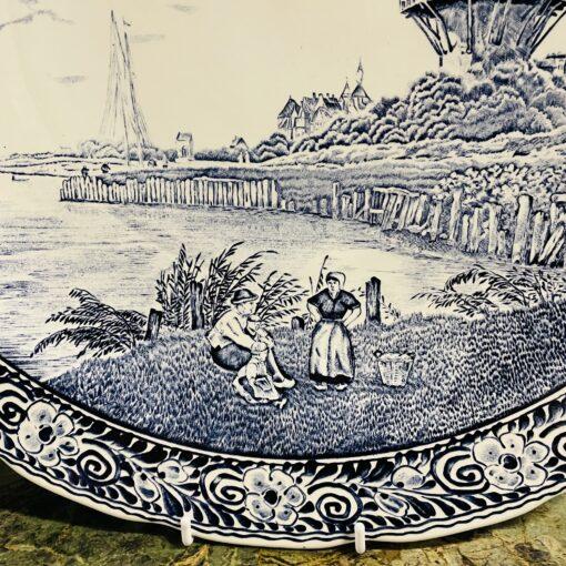 Блюдо антикварное Delft с пейзажем, Boch. Доп. Фото пейзажа.