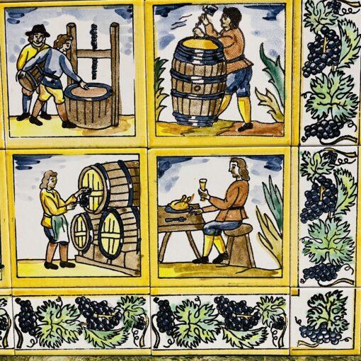 """Пано антикварное """"Процесс изготовления вина"""" середины XX века. Часть 2."""